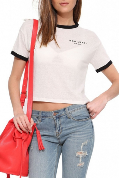 Black Trim White Short Sleeve Letters Crop T-Shirt - Beautifulhalo.com