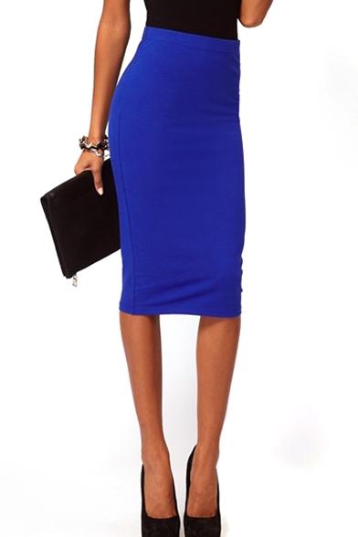 Blue High Waist Split Hem Midi Pencil Skirt - Beautifulhalo.com