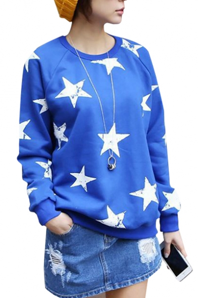 Blue Star Print Raglan Sleeve Sweatshirt with Velvet Inside