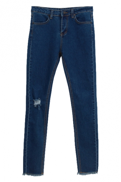 Single Distressed Elastic Pencil Denim Pants