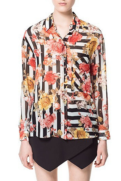 Stripe Floral Print Long Sleeve Chiffon Blouse