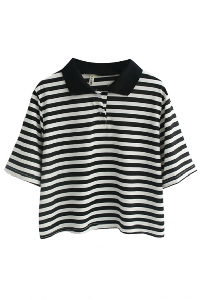 Striped Point Collar Short  Sleeve Crop Loose Tee