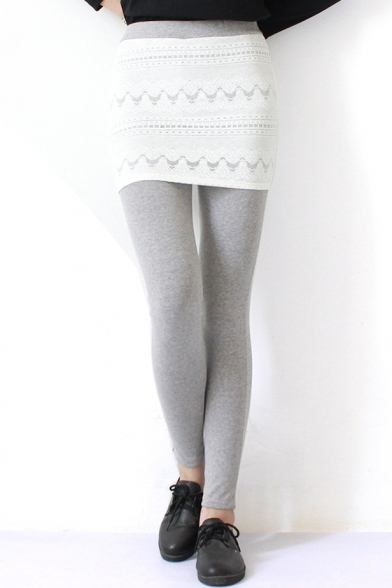 White Lace Panel Plain Fitted Pencil Leggings