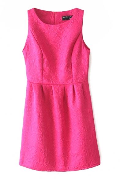 3D Embroidered Style Sleeveless Plain Ladylike Round Neck Dress