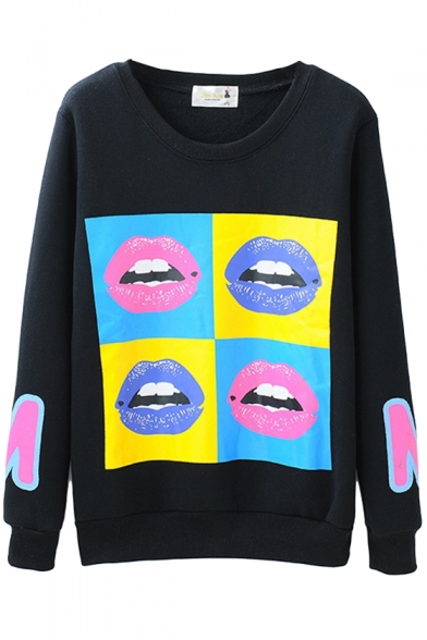 Colorful Lip Print Long Sleeve Velvet Inside Sweatshirt
