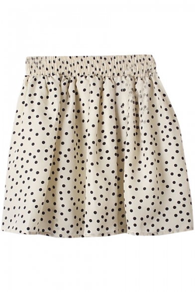 Cream Background Polka Dot Print Chiffon Skater Skirt
