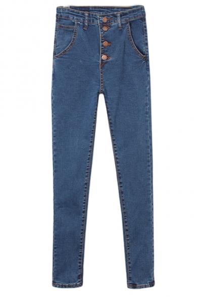 Dark Blue High Waist Single-Breast Skinny Pencil Jeans
