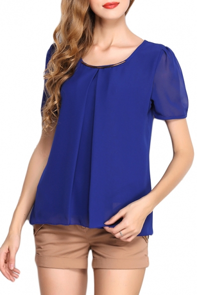 Dark Blue Short Sleeve Pleated Front Chiffon Blouse ...