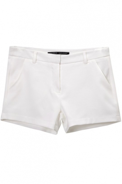 White Plain Pockets Zipper Fly Shorts