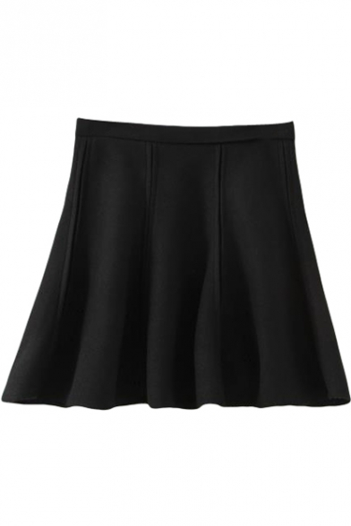 Black High Waist Double Seam Detail A-line Skirt - Beautifulhalo.com