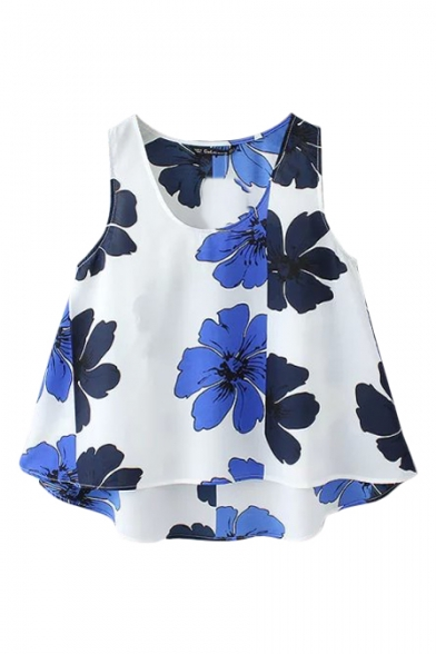 Blue Floral Print Round Neck Sleeveless Top in Dip Hem