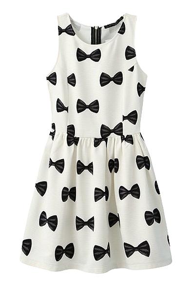 fbf09e5d1761a4 Bow Print Round Neck Sleeveless Pleated Dress - Beautifulhalo.com