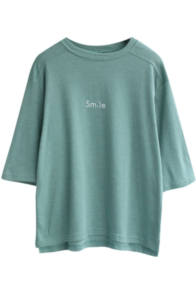 Green 1/2 Sleeve Smile Print Loose T-Shirt