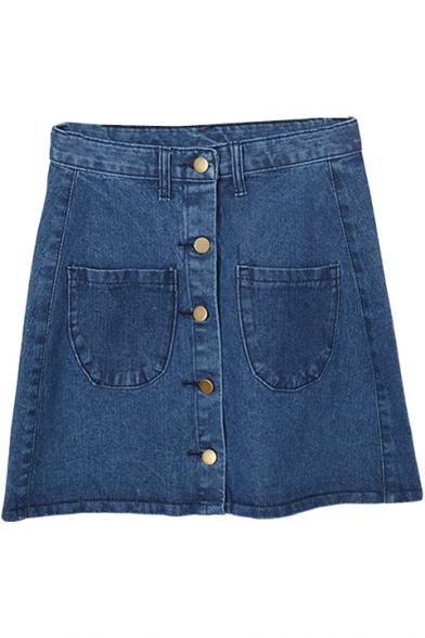 Plain Denim Buttons Detail Full A-Line Skirt