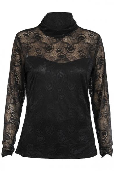 e78bbbe93257f5 Black High Neck Long Sleeve Lace Crochet Sheer Top - Beautifulhalo.com