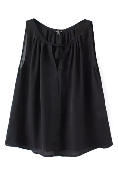 Black Pleated Round Neck Sleeveless Round Neck Blouse