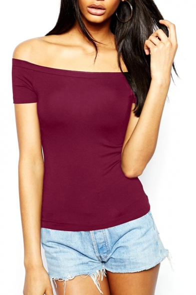 Burgundy Short Sleeve Off The Shoulder Fitted T Shirt Beautifulhalo Com