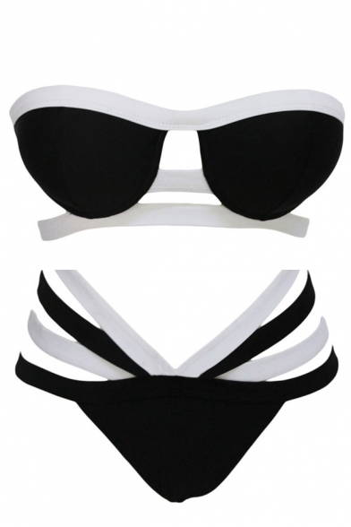 Color Block High Waist Strappy Bikini Set