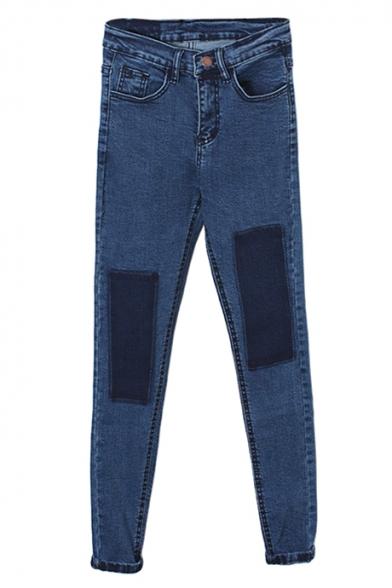 Color Block Patch Light Blue Zipper Fly Jeans