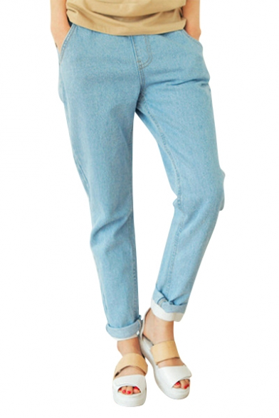 Elastic High Waist Harem Jeans in Loose Fit