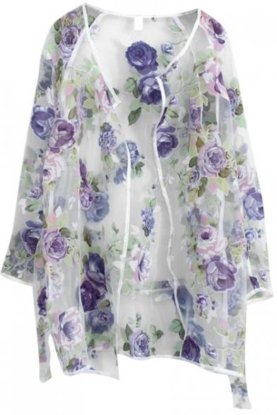 Organza Floral Pattern Sheer Open Front Long Sleeve Coat