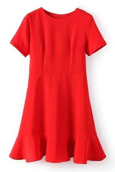 Red Round Neck Short Sleeve Ruffle Dress