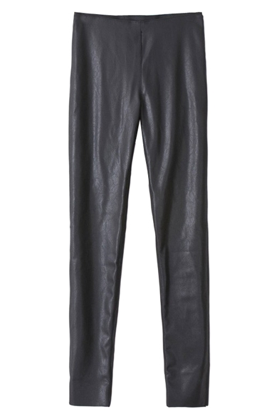 Black PU Casual Skinny Pants