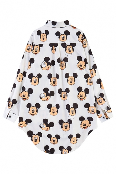 Cartoon Mouse  Print Loose Point Collar Long Sleeve Shirt