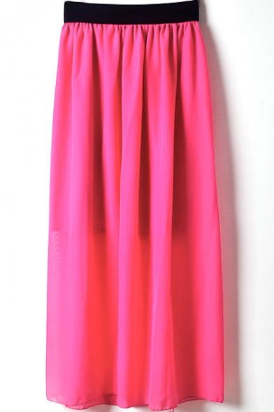 Rose Red Elastic Waist Chiffon Maxi Skirt