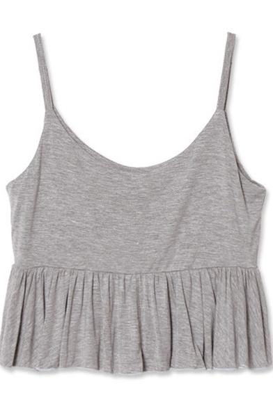 Ruffle Hem Cute Style Crop Plain Modal Camis