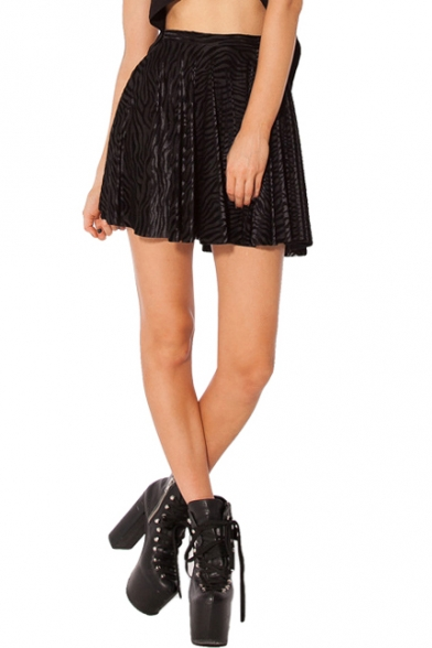 Image of Black Zebra Stripe Pattern Velvet Skater Skirt
