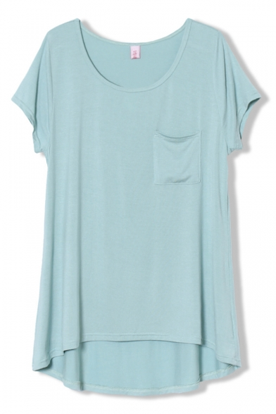 Casual Style Single Mini Pocket Plain Midi Tee