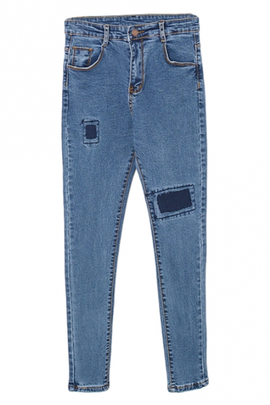 Light Blue Cloth Patch Zipper Fly Pockets Detail Pencil Jeans