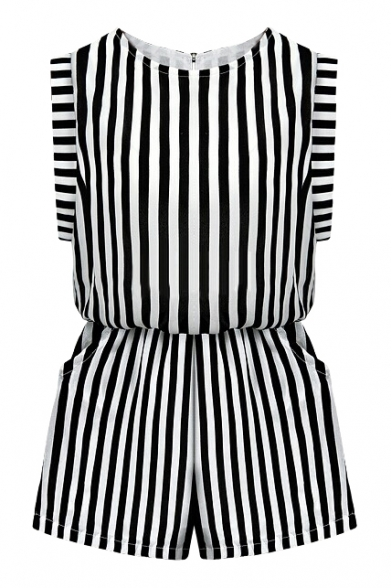 Mono Vertical Stripe Sleeveless Rompers