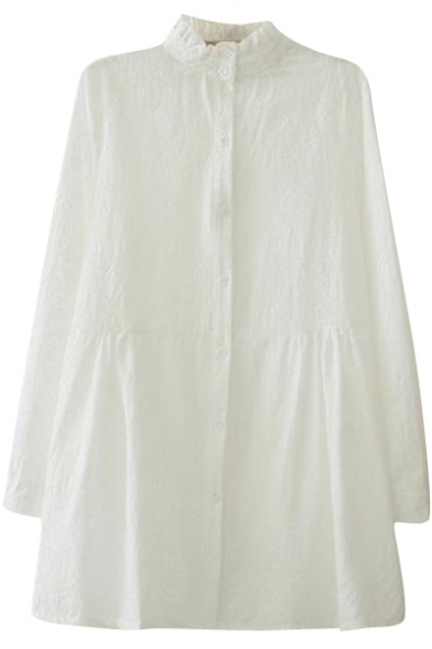 Scallop Collar White Embroidered Detail Swing sweet Dress
