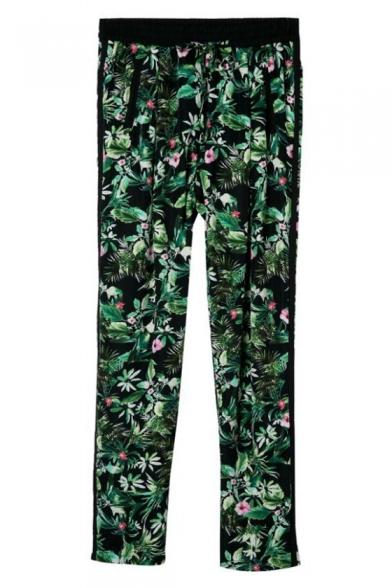 Tropical Plant Print Elastic Waist Pants