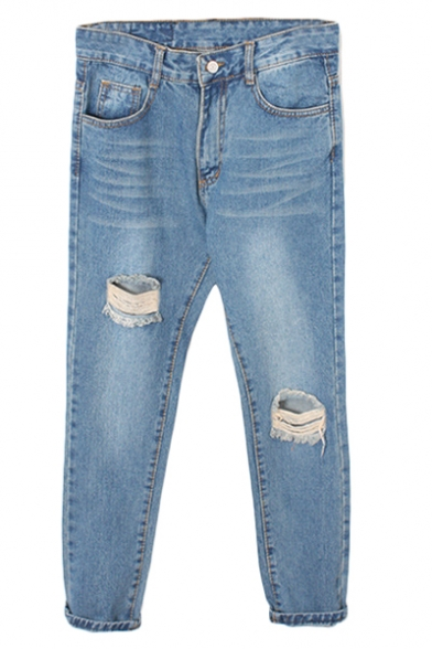 Vintage Blue Ripped Loose Harem Jeans with Open Knee