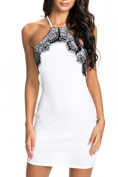 White Halter Lace Trim Cutout Back Dress