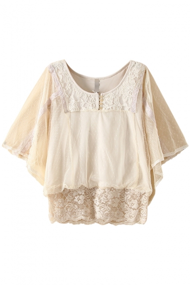 White Lace 3/4 Sleeve Sheer Net Insert Blouse