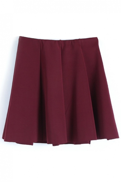 Burgundy Plain Ruffle Hem Pleated Mini Skirt