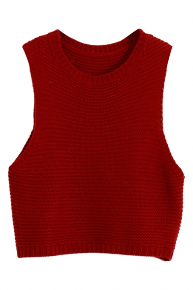 Crop Plain Round Neck Vest Style Sweater - Beautifulhalo.com