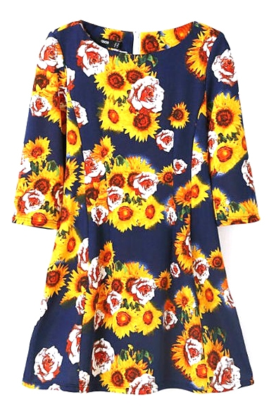 Dark Blue Background Chrysanthemum Print 3/4 Sleeve Vintage Style Dress