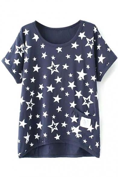 Dark Blue Short Sleeve White Star Single Pocket T Shirt