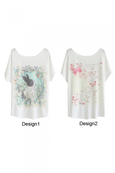 Flower&Rabbit and Butterfly Print White Tee