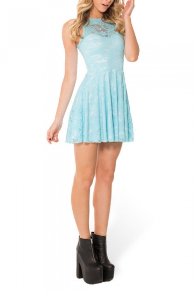 Fresh Candy Color Plain Lace Sleeveless Babydoll Dress