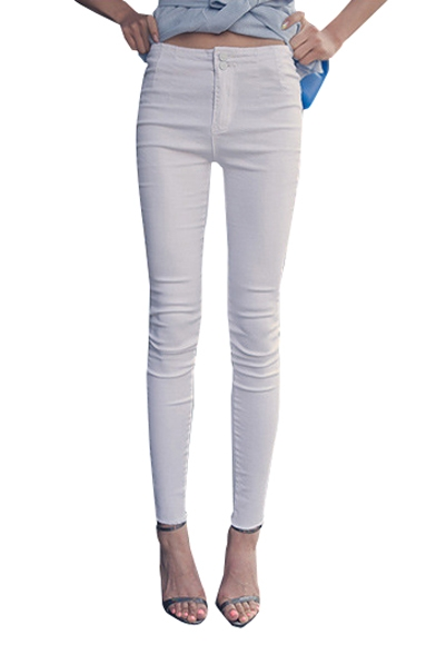 Plain Denim Fitted Skinny High Waist Pencil Jeans with Double Buttons
