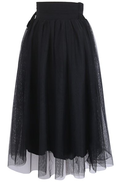 Plain Mesh Inserted Elastic Waist Midi Skirt