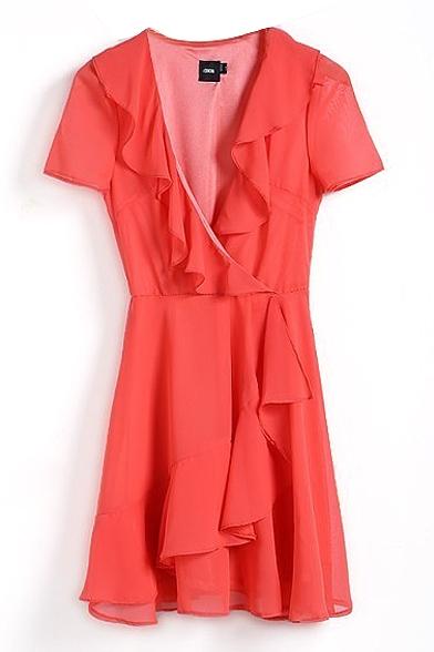 Plain Ruffle Hem Short Sleeve V-Neck Gathered Waist Dress