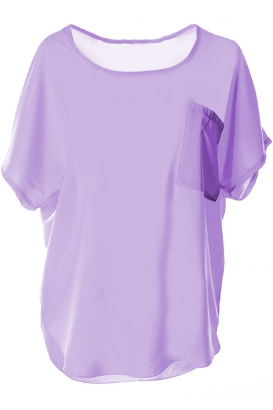 140896e51997b Purple Short Sleeve Pocket Front Chiffon Blouse - Beautifulhalo.com
