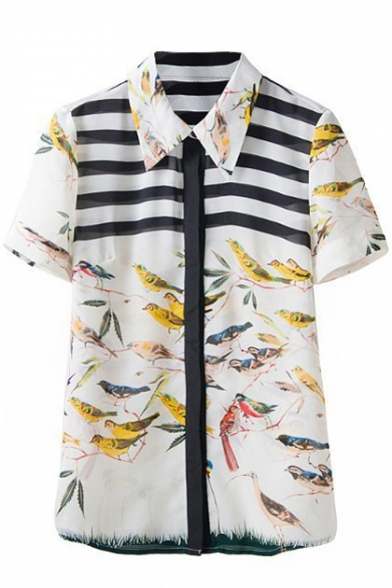 Short Sleeve Stripe&Birds Print Chiffon Shirt
